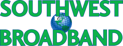 rectangular transparent green and blue southwest minnesota broadband logo with a globe in the middle highlighting minnesota